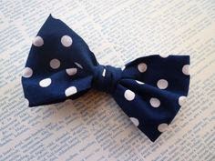 Men's Navy Blue Big Dot Bow tie - clip on. $16.00, via Etsy.