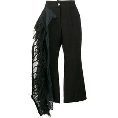 By Walid lace frill cropped trousers (9.612.370 IDR) ❤ liked on Polyvore featuring pants, capris, black, ruffle pants, cropped trousers, lace trousers, lace-up pants and cropped capri pants