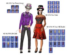 THIS IS FOR SIMS Day of Dead Set. This includes both costumes, face paint, and accessories.For both genders, Teen-Elder. Thanks to my wonderful CC buddy outfits (morphs. The Sims, Sims 4, Camo Bikini, Great Inventions, Autumn Theme, Day Of The Dead, Teen, Costumes, Female