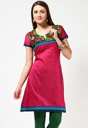 Anahi offers a pink coloured kurti for women. Made of Jacquard fabric, this regular-fit, embroidered kurti has thigh length, short sleeves and a round neck with a slit.