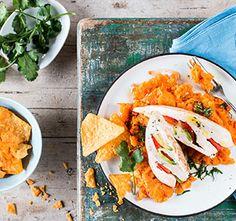Hähnchenbrust mit Avocado und Süßkartoffelstampf