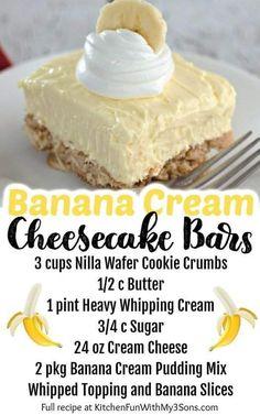 Instant Banana Pudding, Banana Cream Pudding, Banana Pudding Cheesecake, Cheesecake Bars, Pudding Cake, Orange Cheesecake Recipes, Banana Pudding Desserts, Banana Recipes, Banana Cream Desserts