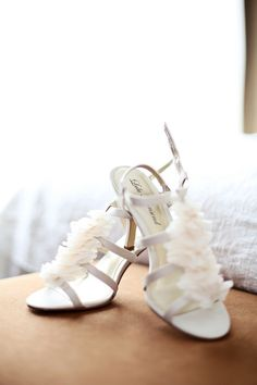 A flirty, frilly pair of white heels for the bride! {Kate Wenzel Photography}