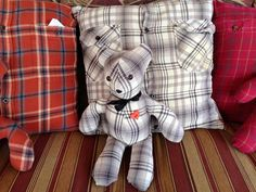 Memory pillows bears from a loved ones shirt that has passed on Memory Pillow From Shirt, Memory Pillows, Memory Quilts, Sewing Pillows, Diy Pillows, Shirt Pillows, Pillows From Shirts, Memory Crafts, In Memory Of Dad