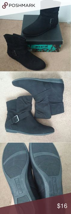 NWOT ankle boots New black ankle booties with side buckle. Size 7. Never worn but box did get a little beat up and dirty from moving. Shoes Ankle Boots & Booties