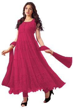 Cherry Color Net Anarkali Suit - Rs. 699.00