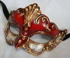 Authentic red and gold paper mache Venetian mask for a masquerade ball £26.99