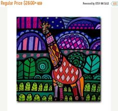 45% Off Today- Giraffe Animal Art Tile Ceramic Coaster Print of painting by Heather Galler Gift (HG480)