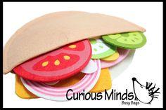 Felt Food Pita - Pretend Play Kitchen Fake Food Toy - Kids Play Kitchen Accessory Lunch Food