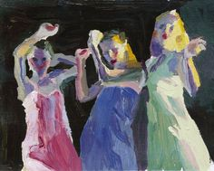 A painting of our daughters and friend dancing.