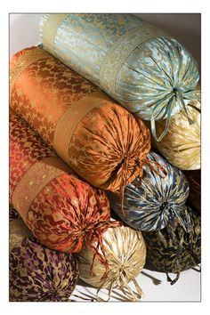 decorative indian silk sari and velvet bolster pillows for more information visit our website