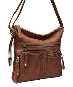 Look what I found on #zulily! Brown Cargo Leather Crossbody Bag by Lucky Brand #zulilyfinds