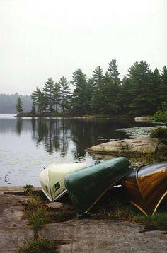canoes on lake #cottage #woods