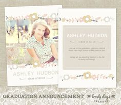 Graduation Announcement High School Seniors Template for Photographers INSTANT DOWNLOAD. $8.00, via Etsy.