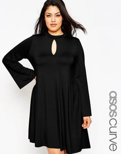 ASOS+CURVE+Swing+Dress+With+Keyhole+Detail+&+Flared+Sleeve