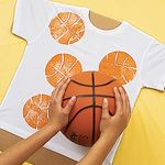 Slam Dunk T-Shirt - Painting with a basketball.  Wonder if it would work for Soccer too?