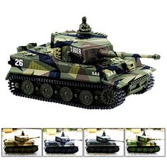 Cheerwing 1:72 German Tiger I Panzer Tank Remote Control Mini RC tank with Sound, Rotating Turret and Recoil Action When Cannon Artillery Shoots (Vary Colors) - Get ready to take charge of your own German Tiger I tank. This remote controlled tank has independent flexible tracks, realistic sound effects and firing simulation. The remote can control up to four tanks independently. With this great mini German tiger tanks you can be ready for play with other...