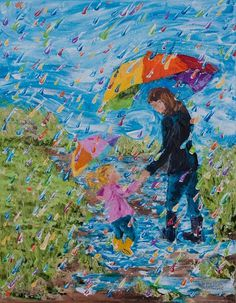 """14"""" x11"""" (35cm x 28cm)Puddle Jumping No. 7 Oil on by ColorsOfCynthiaChristine; Palette Knife Painting I enjoy doing these joyful rainbow raindrop paintings. It expresses my own joy I experience in participating in one of my favorite activities, whether with my own kids, friends, grandkids, or even going solo soaking up each moment of happy splashes!"""