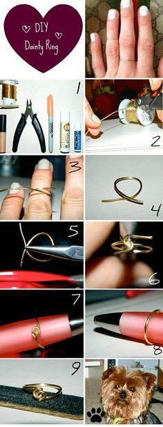 DIY Dainty Ring diy crafts craft ideas easy crafts diy ideas crafty easy diy diy jewelry diy ring jewelry diy craft ring diy craft ring tutorial i could totally add a charms or something on this to make it stand out more. Diy Dainty Rings, Dainty Jewelry, Wire Jewelry, Jewelry Crafts, Handmade Jewelry, Simple Rings, Earrings Handmade, Ring Crafts, Diy Cute Rings