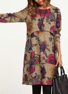 Vestidos Mezclas de algodón Informal Hasta las rodillas Manga larga Floral - Floryday @ floryday.com