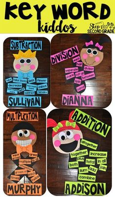 Key Word Kiddos - Make learning math vocabulary fun! Fun Math, Math Activities, Math Resources, 3rd Grade Classroom, Math Classroom, Future Classroom, Second Grade Math, Grade 2, Sixth Grade