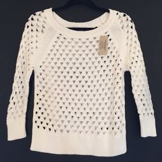 American Eagle Sweater Brand new perforated sweater with 3/4 length sleeves. Off-white color. American Eagle Outfitters Sweaters Crew & Scoop Necks