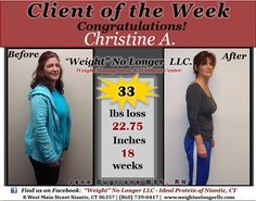 "Congratulations to our ""Client of the Week"": Christine A.  You look incredible! Thank you for sharing your story! #WeightLoss #Healthy #Before #After #Success #Diet #IdealProtein #Weightnolongerllc --- Ideal Protein-- Weight No Longer LLC. -- Weight Loss"