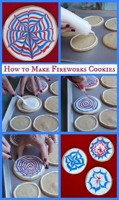 How to make fireworks cookies Perfect for the of July Independence Day Celebrations Holiday Treats, Holiday Parties, Holiday Fun, Holiday Recipes, Holiday Foods, Holiday Desserts, 4th Of July Party, Fourth Of July, Cupcake Cookies