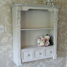 Cream Shelf Unit with Drawers - Lyon Range Cream shabby chic style wall shelves. Perfect cottage style wall storage or display, ideal for bathroom or kitchen