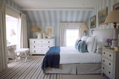 See all our stylish bedroom design ideas. Paolo Moschino chose a nautical colour scheme of blue and white for this fisherman's cottage in Cornwall.