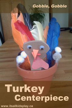 An easy Thanksgiving centerpiece craft for kids. They'll love adding feathers to their turkey!    #kidscrafts #crafts #thanksgiving #DIY #centerpieces #kids