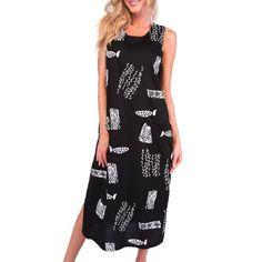 Ingear Beach Long Cotton Tank Dress Casual Beachwear Sundress