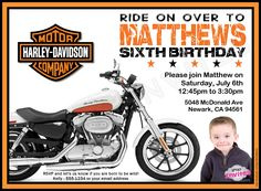 Motorcycle biker birthday invitation vintage motorcycle birthday personalized invitations facebookuprintinvitations harley birthday invitation filmwisefo Image collections