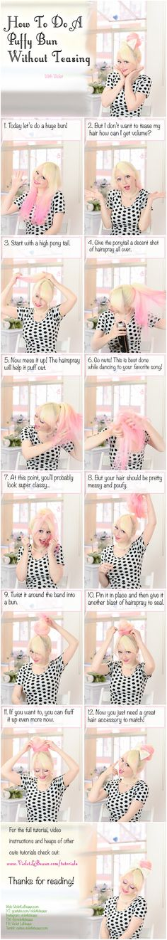 Puffy Bun Hairstyle Tutorial by VioletLeBeaux on DeviantArt