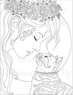 adult coloring page cat coloring page fantasy coloring the kitty kiss printable