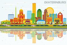 Ekaterinburg Skyline with Color Buildings, Blue Sky and Reflections.
