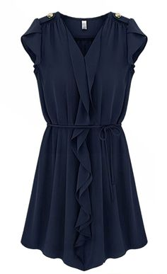 Vestido plisado con volantes-Marino EUR€24.44