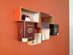 Repurposed wood cigar box shelf. Reclaimed wood fixture wall art for miniatures on Etsy, $34.99