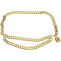 Pre-owned Chanel Vintage Gold Chain No. 5 Perfume Bottle Belt (€475) ❤ liked on Polyvore featuring accessories, belts, gold belt, chanel, engraved belts, chanel belt and gold chain belt