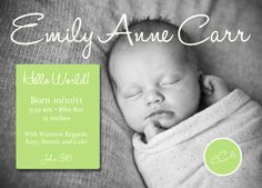 lime green birth announcement