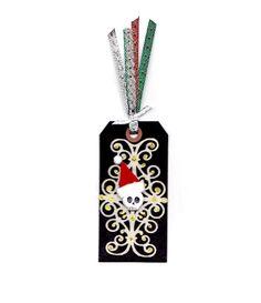 Skelly Santa One, Christmas Tag Ornament, Gothic Dark Art Christmas, OOAK, Mixed Media Christmas. $5.00, via Etsy.