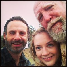 Andrew Lincoln, Emily Kinney, and Scott Wilson