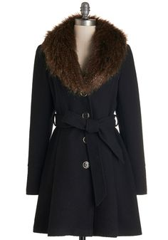 Black w/ Fur Collar Straight Plush Coat @ ModCloth $75