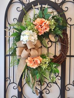 """REFINED FARMHOUSE"" (Peach) - Chic Rustic Woodsy Spring Summer Anytime Wreath 