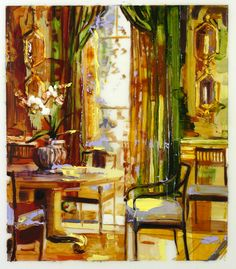 Hidden Rooms Green Curtains by Page Laughlin