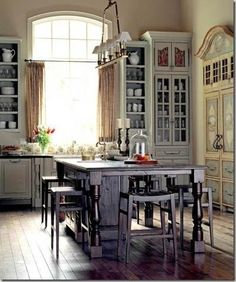 This Is An INCREDIBLE French Country Kitchen, Wide Open Space With  Extravagant High Ceilings And Massive French Wood Cabinets