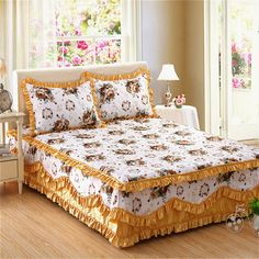 buy new soft pure cotton bedding korean princess 4pcs bedding set with reactive printed bed sheet duvet cover pillowcase