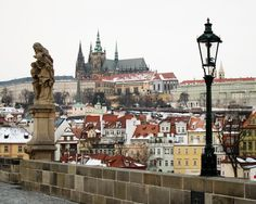 Prague Castle with Saint Vitus' Cathedral stands above the city as viewed from Charles Bridge Oh The Places You'll Go, Places To Travel, Places To Visit, Travel Around The World, Around The Worlds, Visit Prague, Prague Czech Republic, Prague Castle, Travel Info