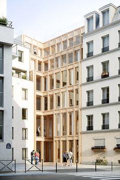 Pépinière d'entreprises artisanales rue Bisson, Paris Architecture Design, Timber Architecture, Chinese Architecture, Architecture Office, Facade Design, Futuristic Architecture, House Design, Office Buildings, Landscape Architecture
