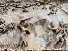 Marble bas-relief by Lorenzo Maitani on the left pier of the façade of the cathedral,  Expulsion from Paradise, Orvieto Cathedral, Italy
